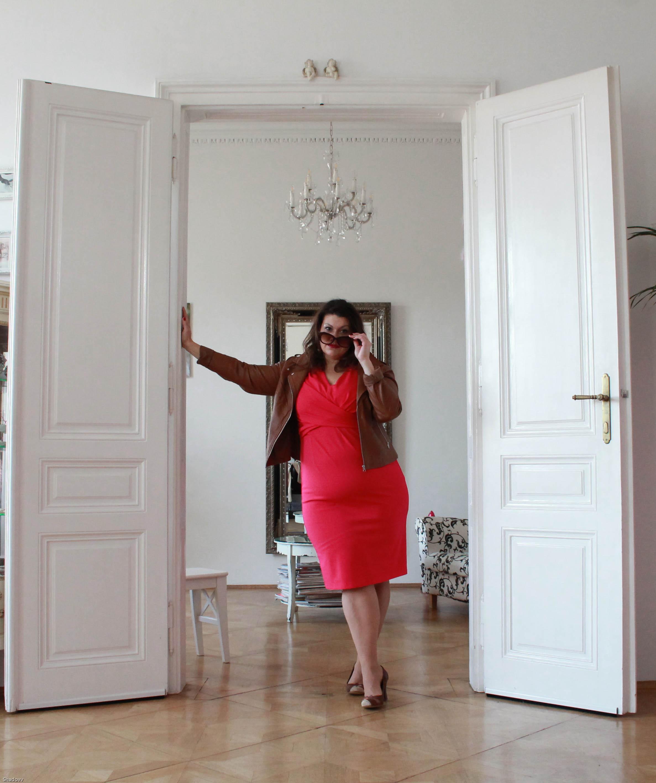 kardiaserena kitana by rinascimento etui kleid magenta pink elegant cool zizzifashion lederjacke curvy plussize fashion grandios boutique