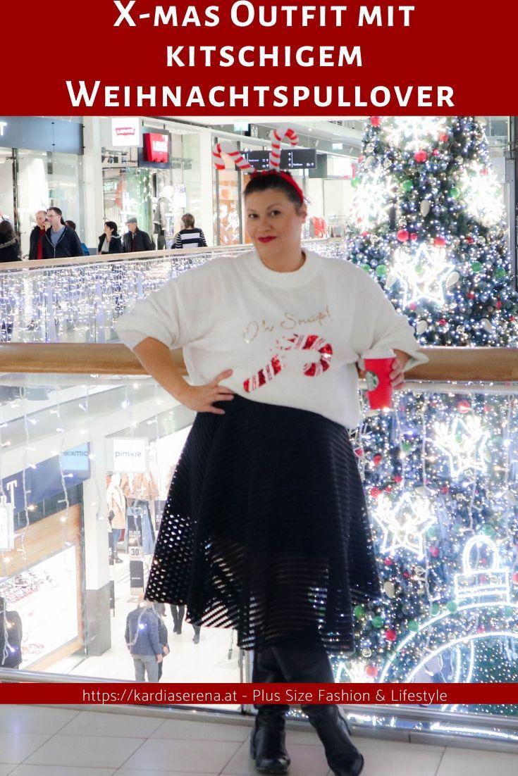 weihnachtsparty outfit mit kitschigem weihnachtspullover plus size outfit look fashion mode für große größen ab 44 x-mas christmas stylish chic kardiaserena